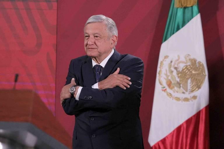 O presidente mexicano, Andrés Manuel López Obrador, durante entrevista coletiva no Palacio Nacional, na Cidade do México