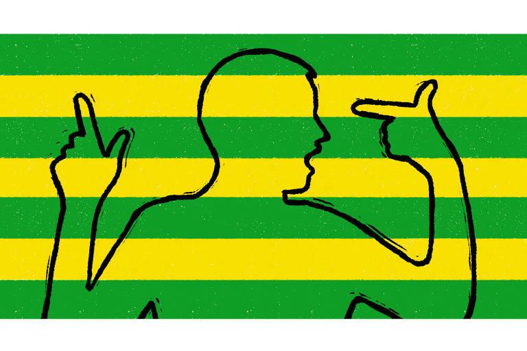 Ilustração tem fundo listrado em verde e amarelo. Acima, silhueta de homem apontando indicador pra cima com uma mão e fazendo arminha, virada pra própria cabeça, com a outra.