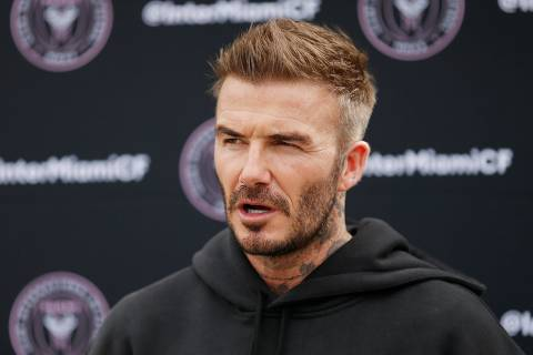 (FILES) In this file photo taken on February 24, 2020 Owner and President of Soccer Operations David Beckham addresses the media ahead of Inter Miami CF's inaugural match on March 1st against LAFC, during media availability at Inter Miami CF Stadium in Fort Lauderdale, Florida. - David Beckham's six-year wait to watch his Major League Soccer club make its home debut, which was to have ended March 14, 2020, has been extended by the league's coronavirus shutdown. (Photo by Michael Reaves / GETTY IMAGES NORTH AMERICA / AFP)