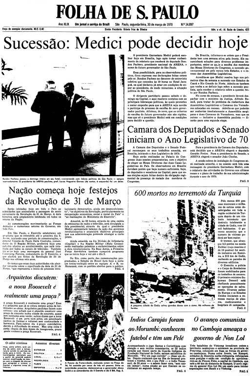 Primeira Página da Folha de 30 de março de 1970