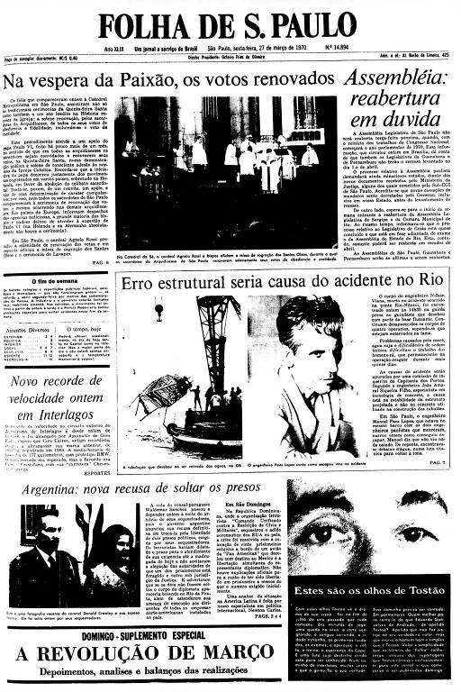 Primeira Página da Folha de 27 de março de 1970