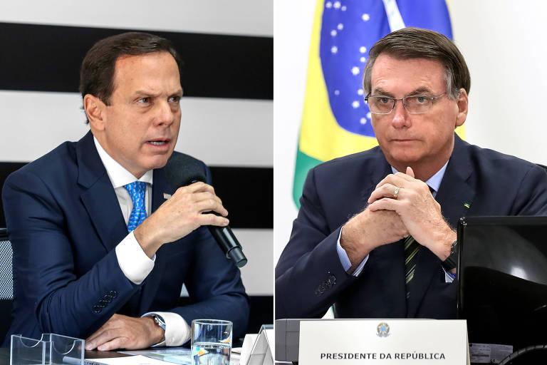 Doria e Bolsonaro, cada um num canto do ringue virtual da videoconferência de quarta passada