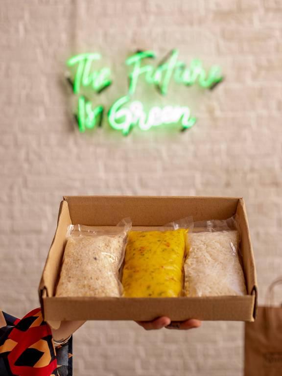 Restaurante vegetariano Quincho entrega kits com itens avulsos para o cliente preparar a comida como quiser