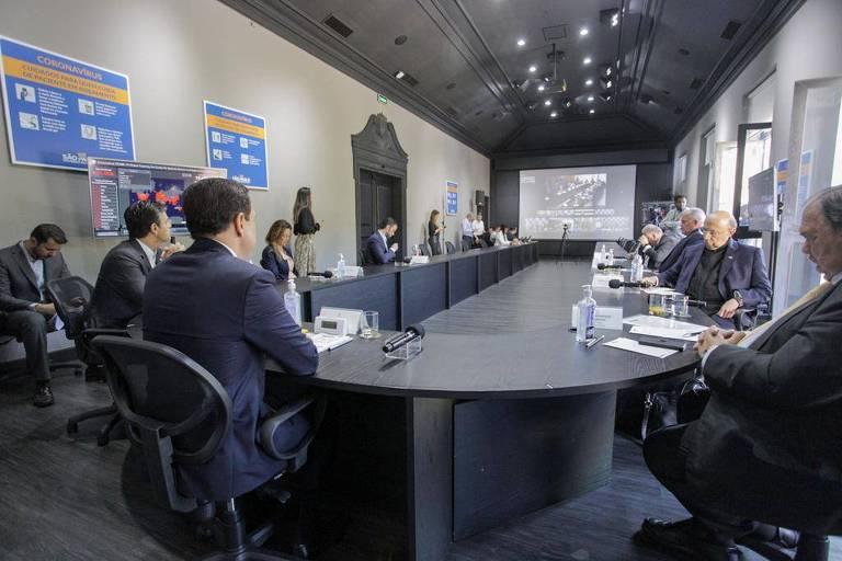 Governador de São Paulo, João Doria (PSDB), durante vídeo conferência com o presidente Jair Bolsonaro e outros governadores do Sudeste