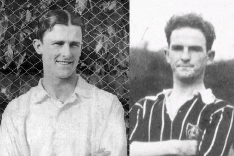 Montagem com Marcos de Mendonça e Archibald French, jogadores do Fluminense de 1918