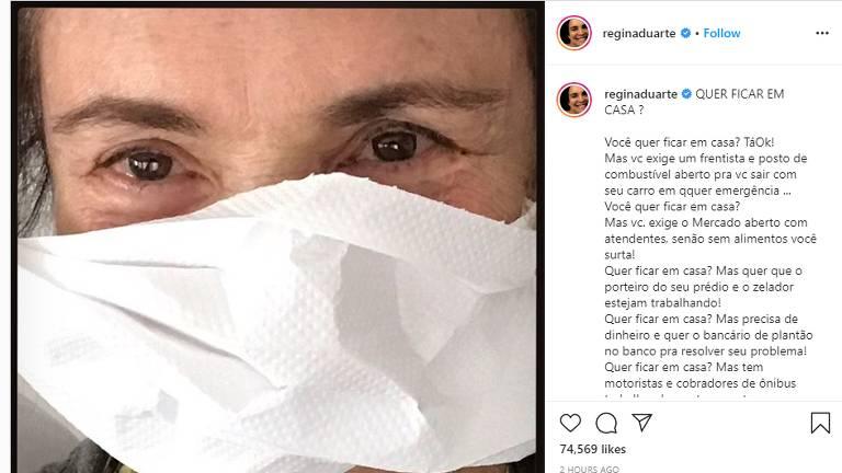 Regina Duarte posta texto crítico ao isolamento