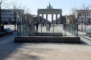 The empty Brandenburg Gate is pictured during the coronavirus disease (COVID-19) outbreak in Berlin