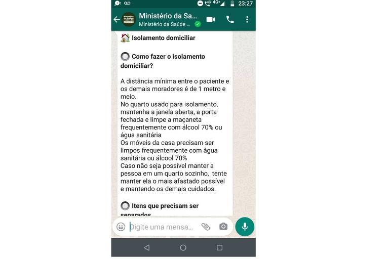 Canal do Ministério da Saúde no WhatsApp