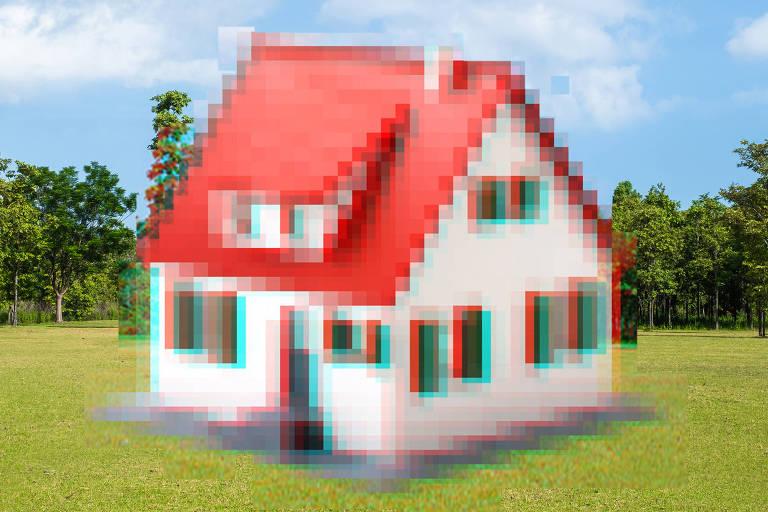 Ilustração de uma casa que está pixelada, em baixa qualidade