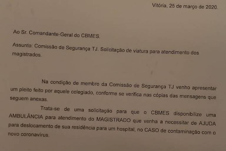 Pedido de ambulância para magistrados feito pelo TJ do Espírito Santo