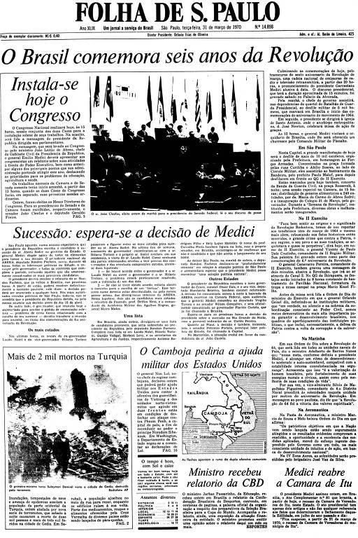 Primeira Página da Folha de 31 de março de 1970
