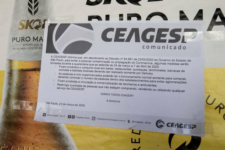 Movimento no entreposto caiu 70% por conta da quarentena imposta pela pandemia do coronavírus