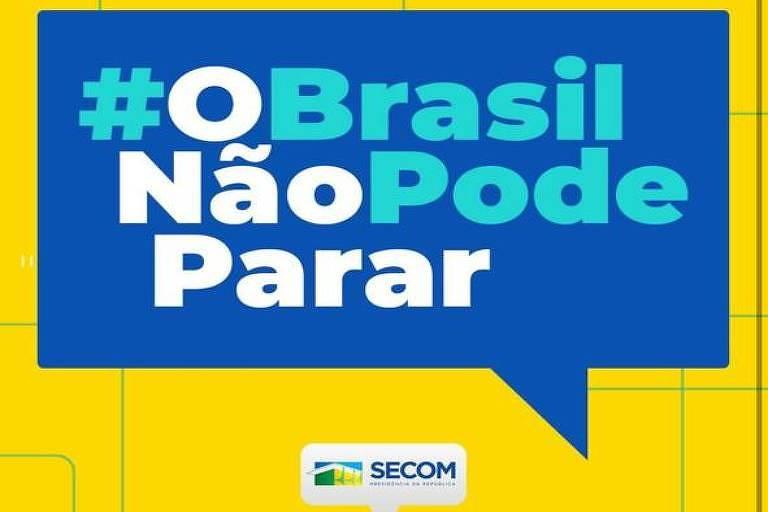Imagem da página do instagram com campanha do governo Bolsonaro contra o recolhimento como medida de combate ao coronavírus