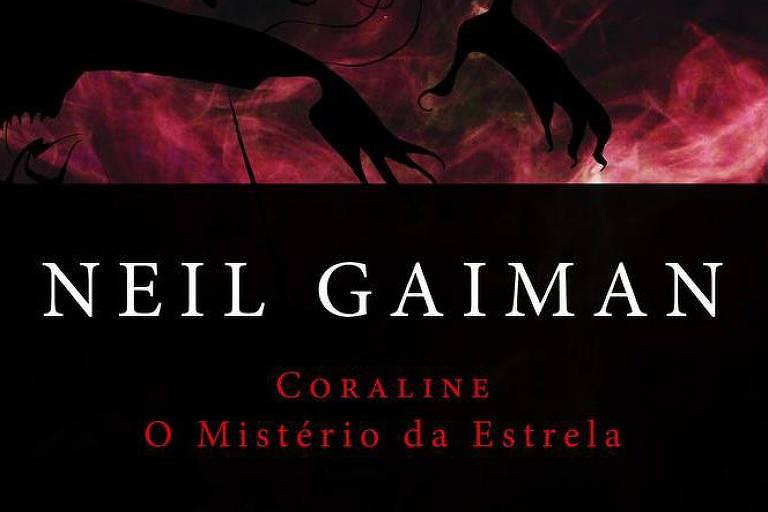 A capa do livro é toda preta e mostra sombras de mãos compridas