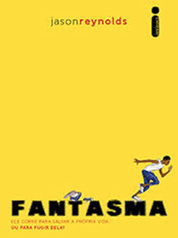 """Capa amarela com letreiro """"Fantasma"""" em preto, perto do letreito, um menino corre"""