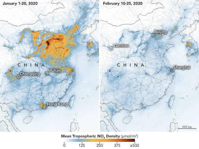 Mapa divulgado pela Nasa mostra como os níveis de poluição do ar caíram na China neste ano