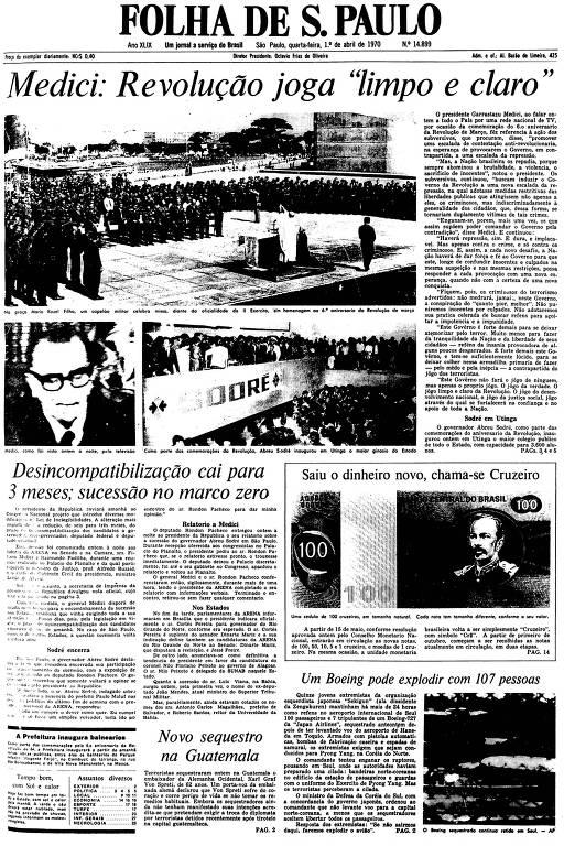 Primeira Página da Folha de 1º de abril de 1970