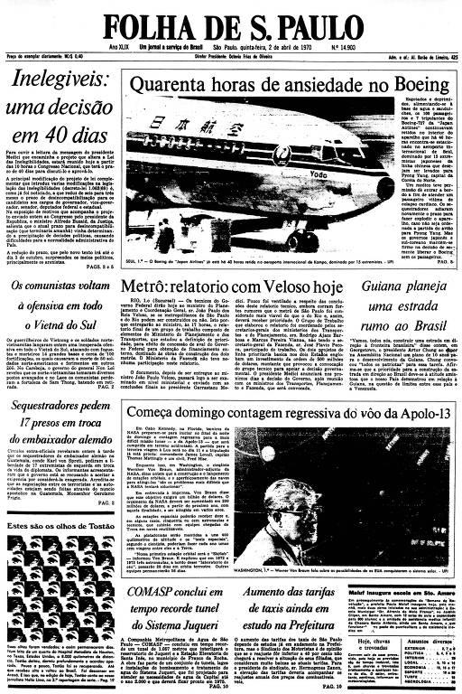 Primeira Página da Folha de 2 de abril de 1970