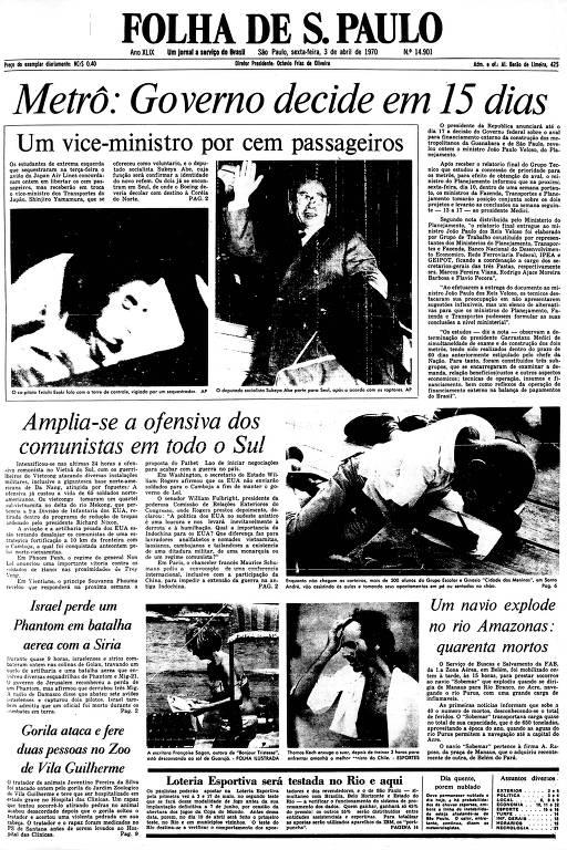 Primeira Página da Folha de 3 de abril de 1970