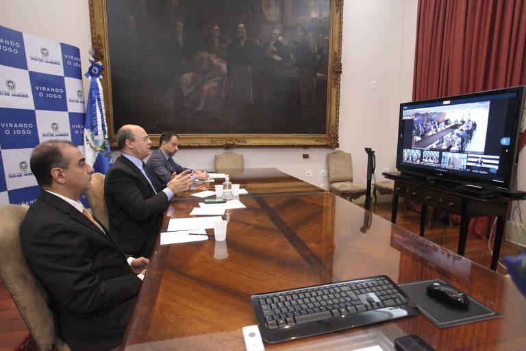 O governador Wilson Witzel participa de reunião por videoconferência com o presidente Jair Bolsonaro e governadores do Sudeste sobre a pandemia, na semana passada