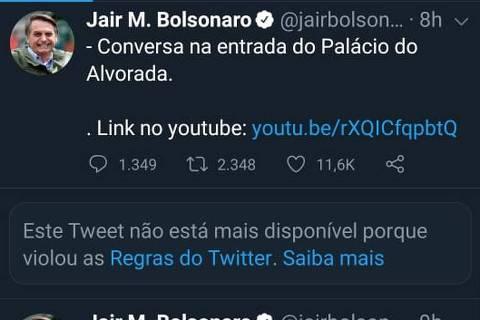 Pela primeira vez, Twitter apaga postagens de Bolsonaro