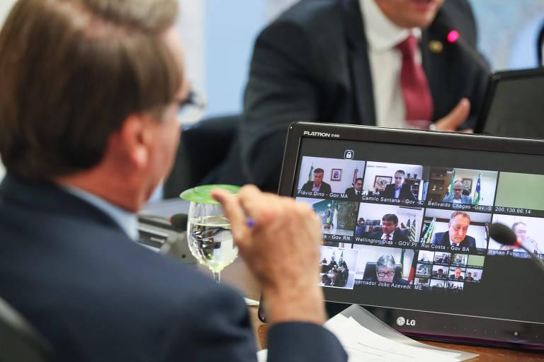 Jair Bolsonaro em videoconferência com governadores, na semana passada
