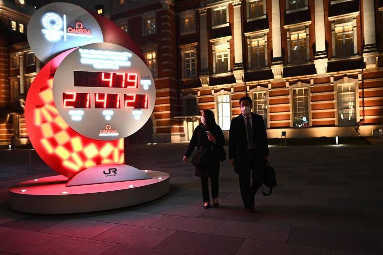 Relógio de Tóquio volta a mostrar a contagem de dias para a Olimpíada. Comitê Olímpico Internacional e entidades japoneses anunciaram as novas datas do evento: de 23 de julho a 8 de agosto de 2021