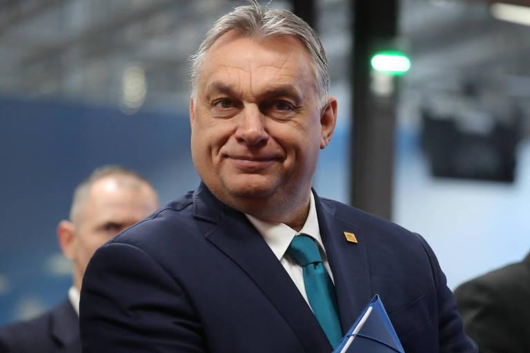O primeiro-ministro húngaro, Viktor Orbán, durante encontro da União Europeia em Bruxelas em fevereiro