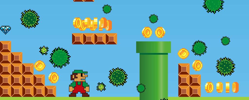 Mario rodeado de vírus