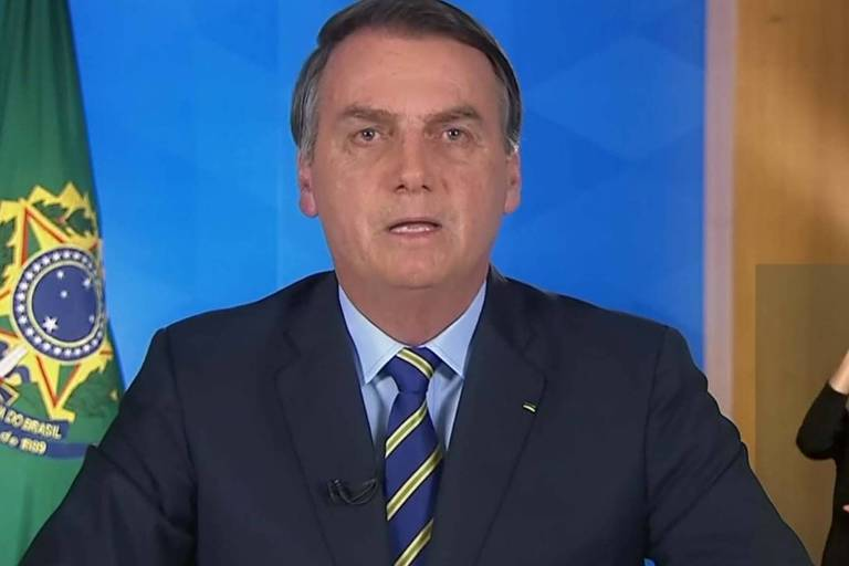 Presidente Jair Bolsonaro durante pronunciamento em rede nacional, nesta terça (31)