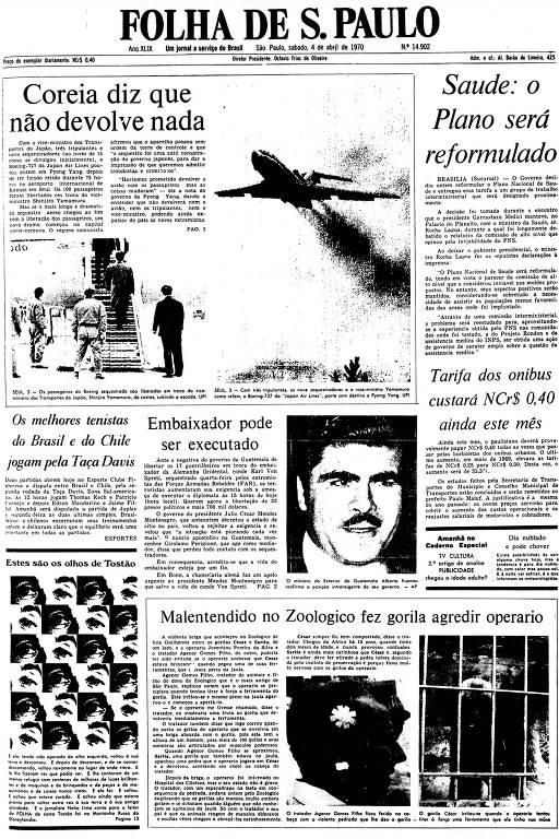 Primeira Página da Folha de 4 de abril de 1970