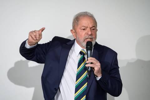 Former Brazilian president Luiz Inacio Lula da Silva delivers a speech during an event titled:
