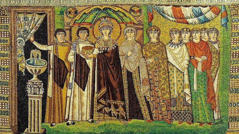 Mosaico de Theodora na basílica San Vitale em Ravenna, Itália