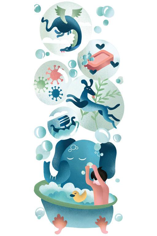 Ilustração de criança tomando banho e, em balões mostrando sua imaginação, animais como elefante, dragão e cervo