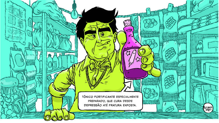 """Ilustração mostra homem em mercado, segurando garrafa dizendo: """"Tônico fortificante especialmente preparado, cura desde depressão até fratura exposta"""""""