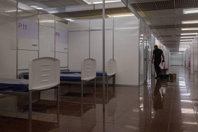 Hospital de campanha contra coronavírus no Anhembi