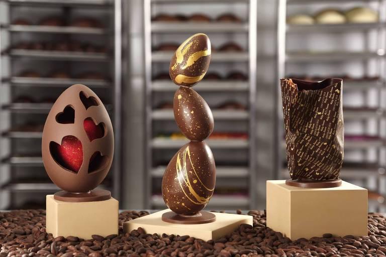Páscoa Chocolat du Jour tem as linhas Escultura Coração, Escultura Equilíbrio e  Escultura Wrapped