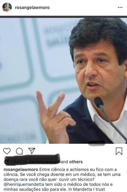 Postagem de Rosangela Moro a favor do ministro Luiz Henrique Mandetta