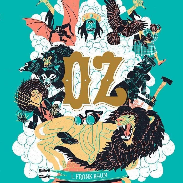 Capa do livro Oz com ilustrações do leão, o homem de lata, o espantalho e a bruxa