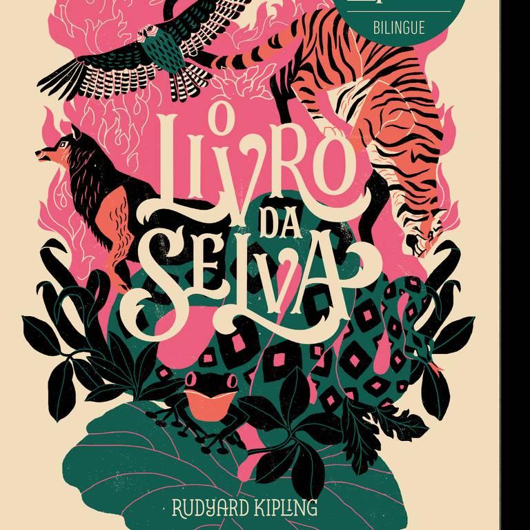 Capa com ilustrações verde e rosa de um tigre, um pássaro e um uma pantera
