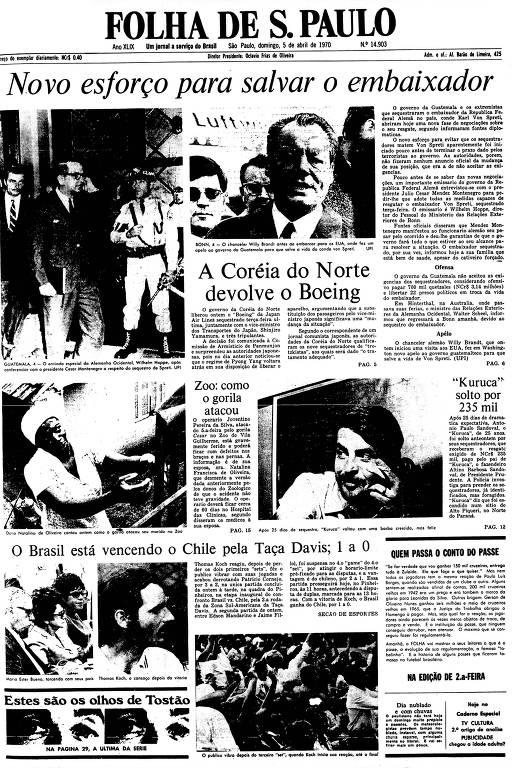 Primeira Página da Folha de 5 de abril de 1970