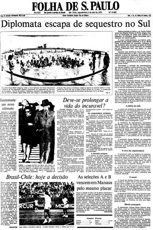 Primeira Página da Folha de 6 de abril de 1970