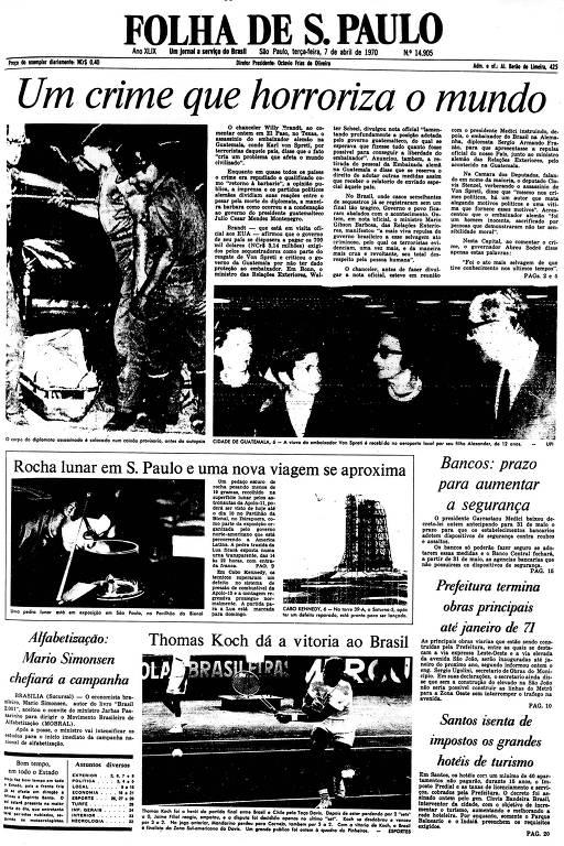 Primeira Página da Folha de 7 de abril de 1970