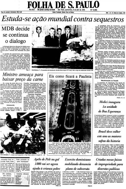 Primeira Página da Folha de 8 de abril de 1970