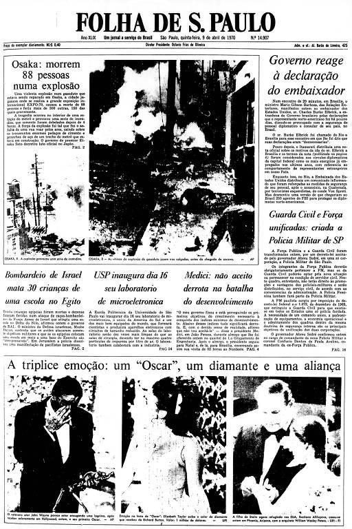 Primeira Página da Folha de 9 de abril de 1970