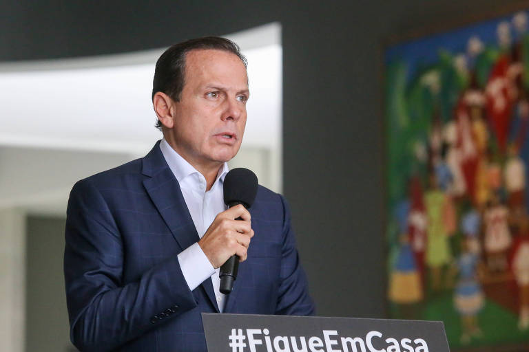 O Governador do Estado de São Paulo João Doria durante coletiva de imprensa sobre o combate do Coronavírus