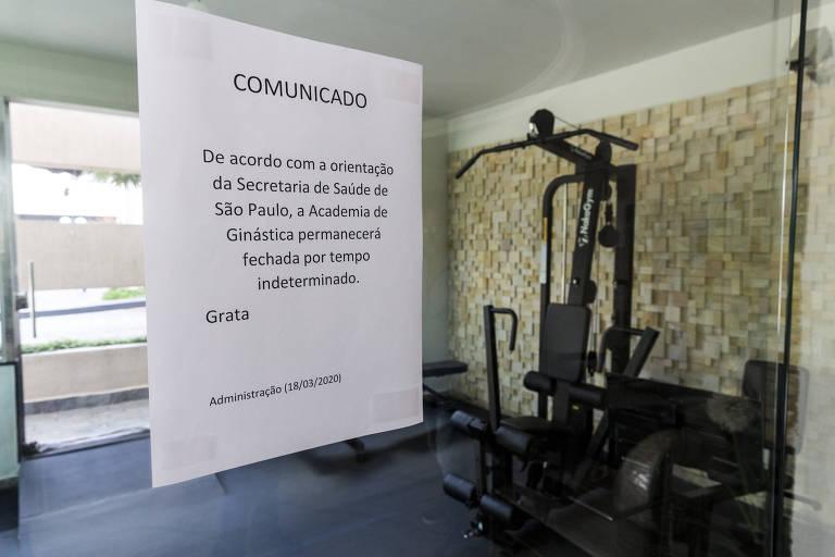 Os condomínios fecharam as áreas comuns dos moradores, como a academia, e estão intensificando a limpeza dos locais de passagem, como elevadores e corrimãos
