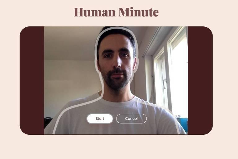 Nicolás aparece em um vídeo, com camisa cinza. Ele tem barba e cabelo raspado preto. O vídeo está dentro de uma tela rosa. Em cima, está escrito Human Minute