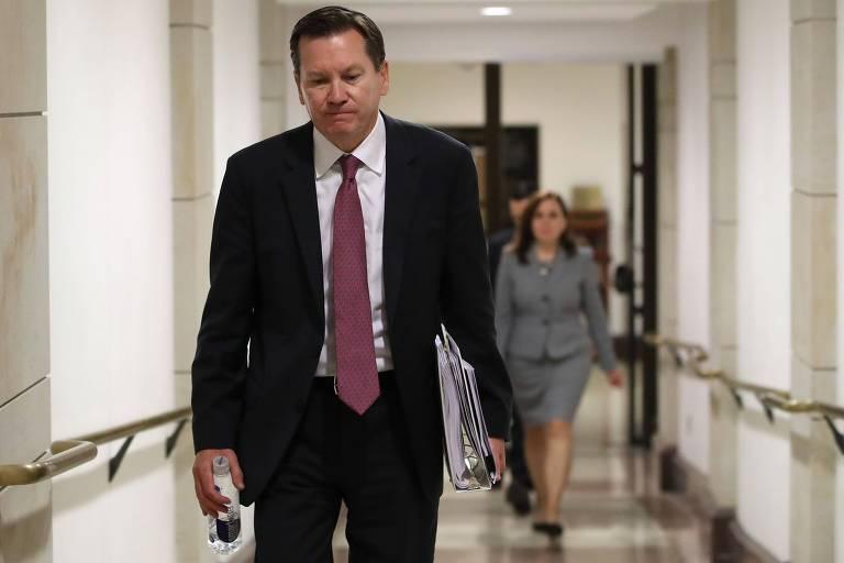 Michael Atkinson, inspetor-geral de inteligência dos EUA, ao deixar reunião no Capitólio, em outubro de 2019