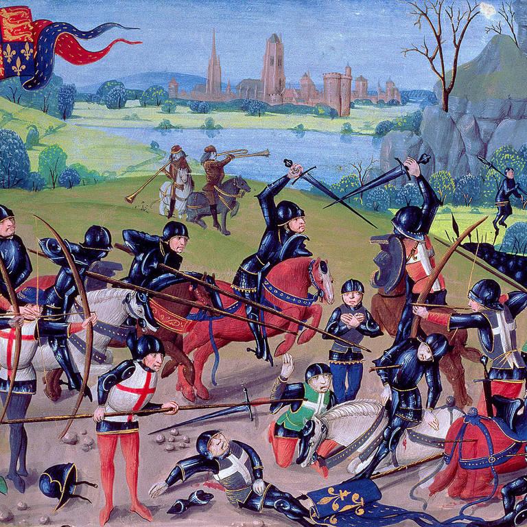 Imagem medieval da batalha de Agincourt